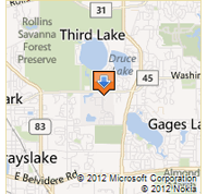 Image of map showing the University Center in Grayslake Illinois